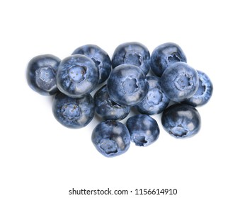 Ripe blueberries on white background
