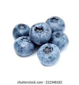 Ripe blueberries on white background
