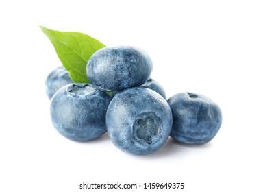Ripe blueberry on white background
