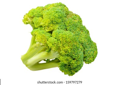Ripe Broccoli cabbage. Isolated on white background.