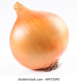 Ripe bulb onion on a white background.