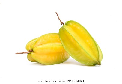 Ripe Carambola or Star fruit isolated on white background. (Averrhoa carambola, star apple, starfruit)