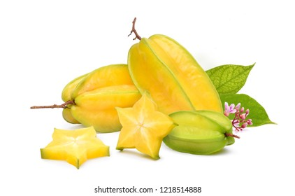 Ripe Carambola or Star fruit with sliced, green leaves and flower isolated on white background. (Averrhoa carambola, star apple, starfruit)