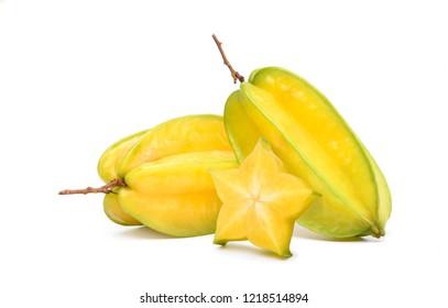 Ripe Carambola or Star fruit with sliced isolated on white background. (Averrhoa carambola, star apple, starfruit)
