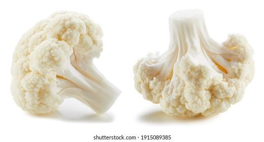 Ripe cauliflower clipping path. Organic fresh cauliflower isolated on white. Image stack full depth of field macro shot