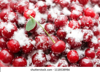 Ripe cherries are covered with sugar for canning. Juicy, bright background or texture. food photography
