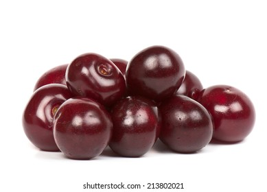 Ripe cherries on a white isolated background. Studio