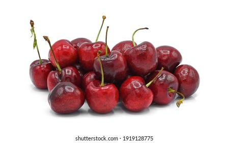 Ripe cherry isolated on white background.