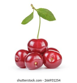 ripe clean cherries isolated on white background