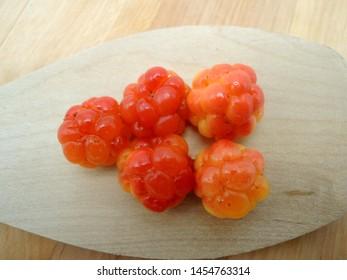 Ripe cloudberries (Rubus chamaemorus) in a decorative setting
