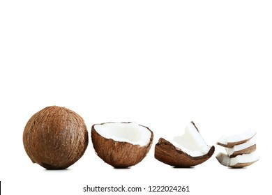 Ripe coconuts isolated on white background