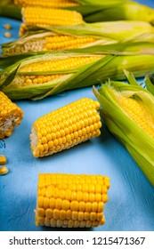 Ripe corn on a blue table close-up