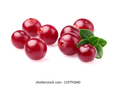 Ripe cranberry with leaf