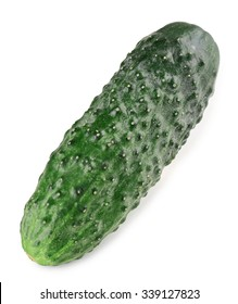 Ripe cucumber isolated on white