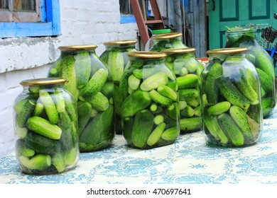 ripe cucumbers in the glass jars are prepared for preservation
