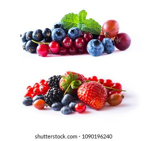 Ripe currants, blackberries, blueberries, strawberries, gooseberries. Background of mix fruits, berries isolated on white background. Fruits with copy space for text. Various fresh summer berries