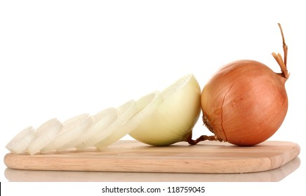 Ripe cut onions on board isolated on white