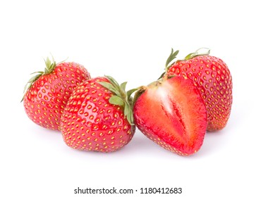 Ripe cut strawberry isolated on white background close up