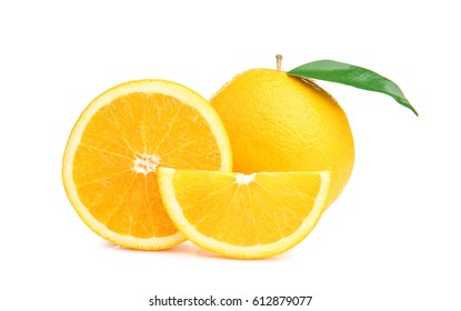 Ripe cutting orange with green leaf isolated on white