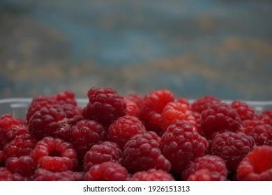 ripe delicious red raspberry berries