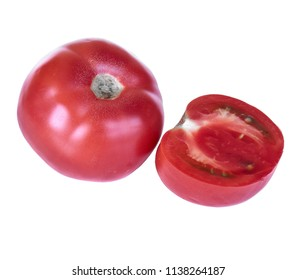 Ripe and delicious tomato isolated on white background