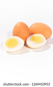 Ripe eggs and white background