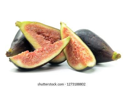 Ripe fig fruits on the white background