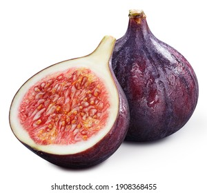 Ripe fig and half clipping path. Organic fresh fig isolated on white. Image stack full depth of field macro shot