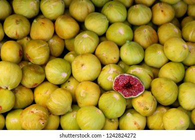 Ripe Figs On A Market in Southern Europe, Detail, Close-up