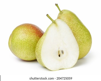 ripe forelle pears, isolated on white background