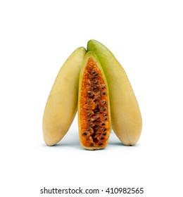 Ripe fresh banana passion fruit (banana maracuja) isolated on white