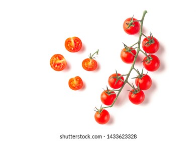 Ripe fresh juicy organic cherry tomatoes on branch isolated on a white background.