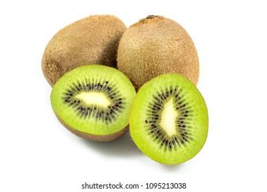 Ripe and fresh kiwi fruit and half slice of kiwi fruit isolated on white background.