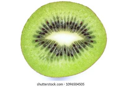 Ripe and fresh kiwi fruit slice isolated on white background.