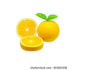 Ripe fresh orange isolated on white background.