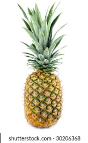 Ripe fresh pineapple isolated on white background