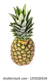Ripe and fresh pineapple on white background