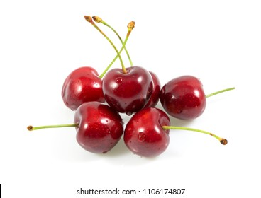 Ripe fresh red cherry, Sweet cherries with drop of water isolated on the white background.