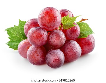 Ripe fresh wet red grape with leaves isolated on white. With clipping path. Full depth of field.