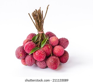 Ripe fruit of the lychee (Litchi chinensis) against white background