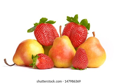 Ripe Fruit, pears and strawberries.