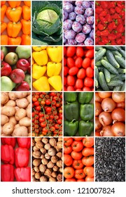 Ripe fruit and vegetables background  (set of twelve)