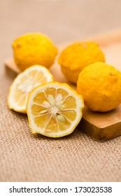 Ripe fruits of hanayuzu (Citrus hanayu)