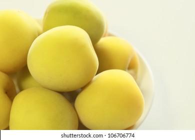Ripe fruits of Ume (Prunus mume or Japanese apricot)