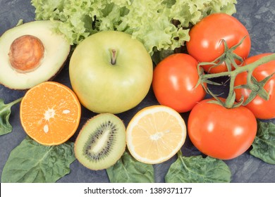 Ripe fruits with vegetables as healthy nutritious snack containing natural vitamins