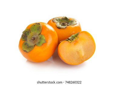 Ripe Fuyu persimmon isolated on white background.