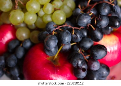 ripe grape and juicy apple as illustration collection harvest