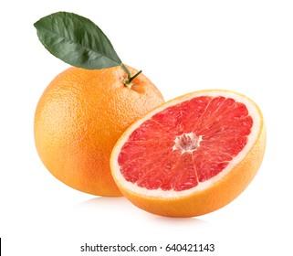 Ripe grapefruits isolated on white background