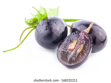 Ripe grapes berry with leaf, Isolated on white background, closeup