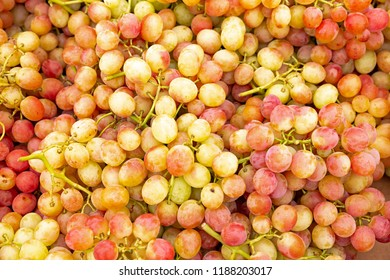 Ripe grapes on display on a market in Greece
